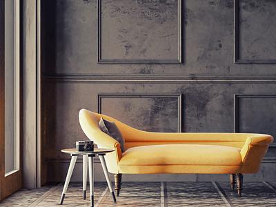 Yellow chaise longue illustration textures design material pbr cycles archviz  interior archviz interior design cyclesrender blender3d interior architecture interior