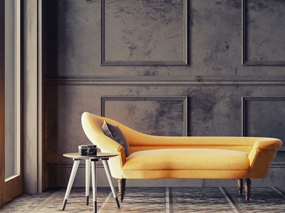 Yellow chaise longue