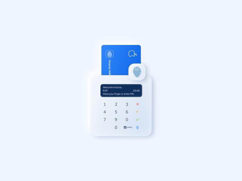 Card reader concept with a digitized fingerprint sensor concept clean application figma neomorphism digitaltransformation fintech finger print fingerprint blue balasinski credit card creditcard device payments