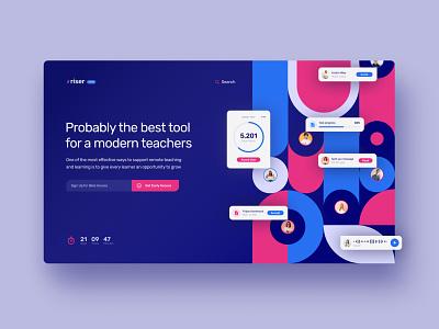 Riser - E-learning tool for modern teachers vector ui design illustration colorful components webdesign figma landingpage product design