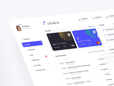 Assetly - Manage Assets like a Banking Application dashboard investment investment tax income webinar transferwise finance financial services banking app bankingapp asset management assets financial advisor financial app components webdesign application clean balasinski figma