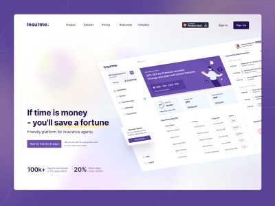Find insurance agents in any place any time agents insurance gradient ui landingpage webdesign application clean balasinski figma illustration