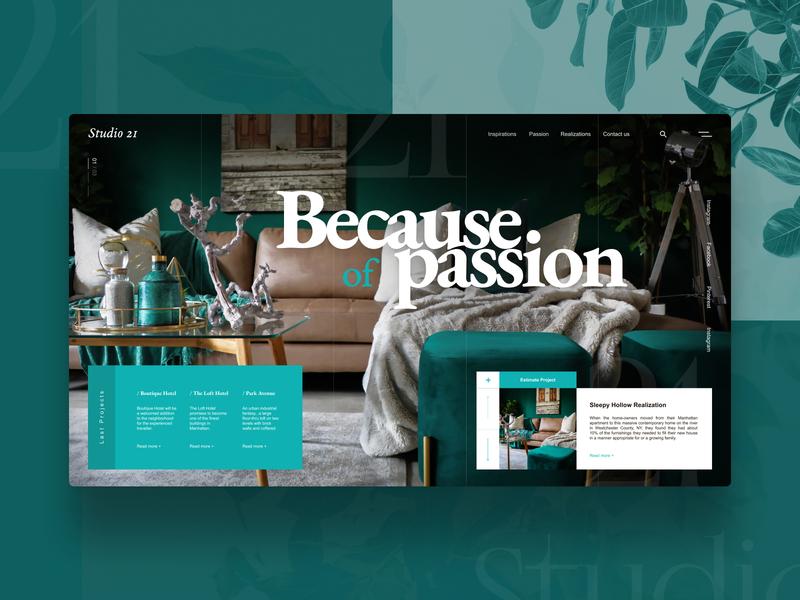 Interior design Studio  - Landingpage concept green studio interior balasinski figmadesign figma landingpage