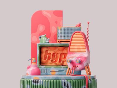 Turn on the radio 📻 retro photoshop shapes abstract illustration adobe pastel design colors render redshift cinema4d c4d 3d art 3d
