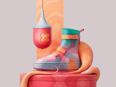 Delta Tek Hi sneakers shoes shapes photoshop redshift3d redshift illustration design colors abstract 3d art adobe pastel c4d cinema4d 3d