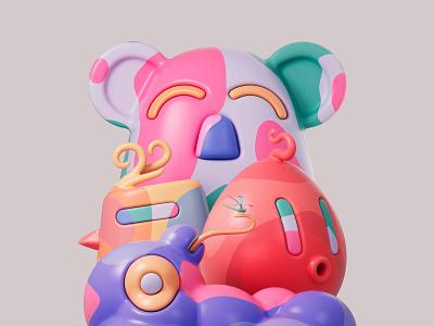 Fruity loop troops 🐨🐦🥚🐛 shapes render redshift3d redshift photoshop illustration design colors abstract 3d art adobe pastel cinema4d c4d 3d