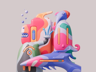 Deep Sea Strangers 🐙👾🐠🐳 shapes render redshift redshift3d photoshop illustration design colors abstract 3d art adobe pastel cinema4d c4d 3d