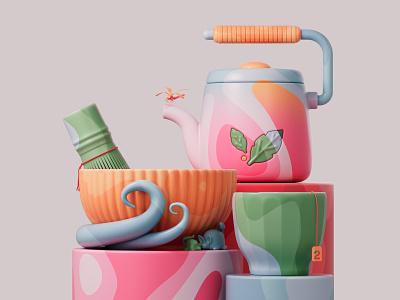 Tea time 🍵 redshiftrender redshift3d redshift illustration design colors abstract 3d art adobe pastel cinema4d c4d 3d
