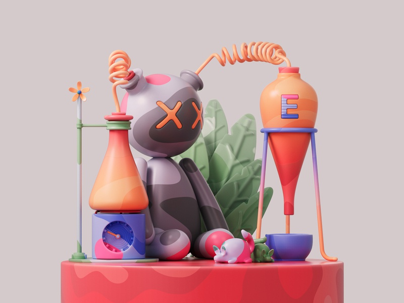 Test subject 🧸⚗️🧪 shapes redshiftrender redshift3d photoshop redshift illustration design colors abstract 3d art adobe pastel cinema4d c4d 3d