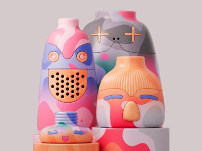 In the waiting room shapes characters pots ceramics redshift3d photoshop redshift illustration design colors abstract 3d art adobe pastel cinema4d c4d 3d