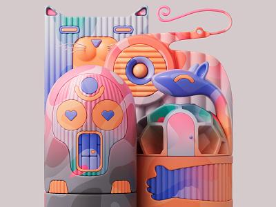 After tasting the candy 🍬🍭 shapes redshift3d redshift illustration design colors abstract 3d art adobe pastel cinema4d c4d 3d