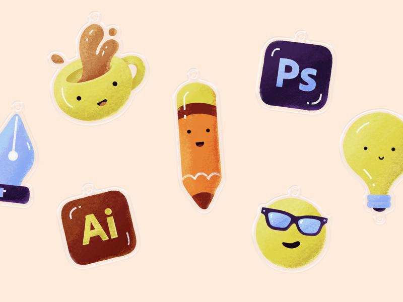 Charms pencil coo coffee adobe illustrator photoshop designer cute illustration playoff keychain charms