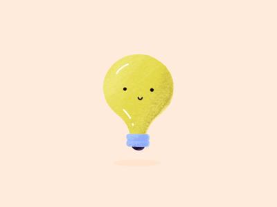 Bright Idea illo icon blue yellow lightbulb idea bright