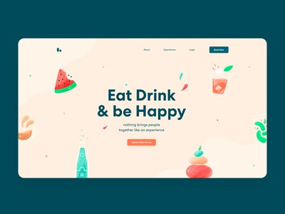Landing Page Exploration landing page yoga drink food app web icons logo clean branding illustration ux ui website