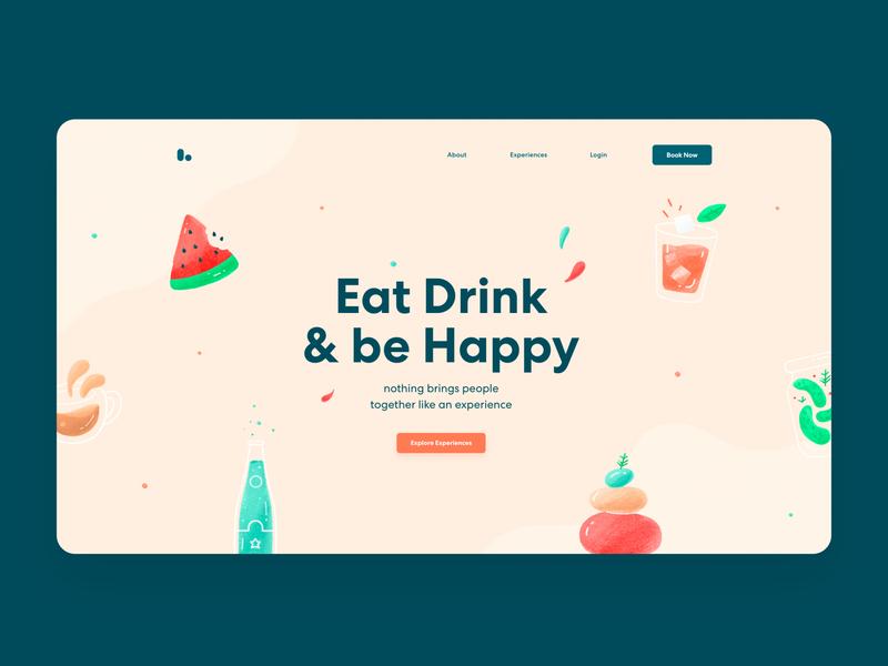 Landing Page Exploration landing page yoga drink food app web icons logo clean branding illustration ux ui website
