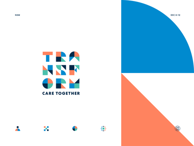 Transform Care Together 2020 conference meeting transform build together care branding shapes icons color geometric identity system logo