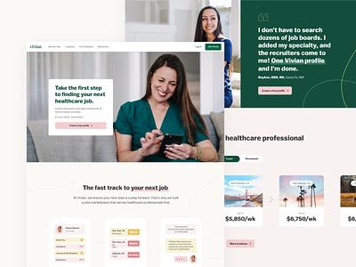 Vivian Homepage ux ui design identity clean healthcare medical nurse health green masthead hero homepage web website branding