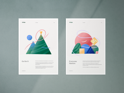 Core Values 3 & 4 identity brand poster internal values brand values core value branding illustration design clean typography geometric shapes color