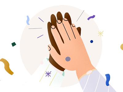Candidate Placement Illustration illo celebrate congrats clap hi-five hands spot email design illustration identity branding