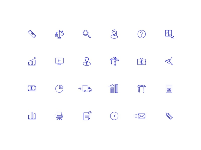 TOP Iconography ui line simple identity branding money rule pencil real estate building search vector icons