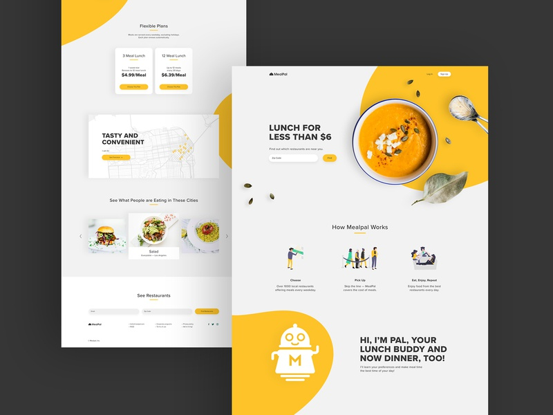 MealPal — Landing page redesign logo branding dailyui 003 map ux ui website yellow orange bright meal food restaurant landing page mealpal