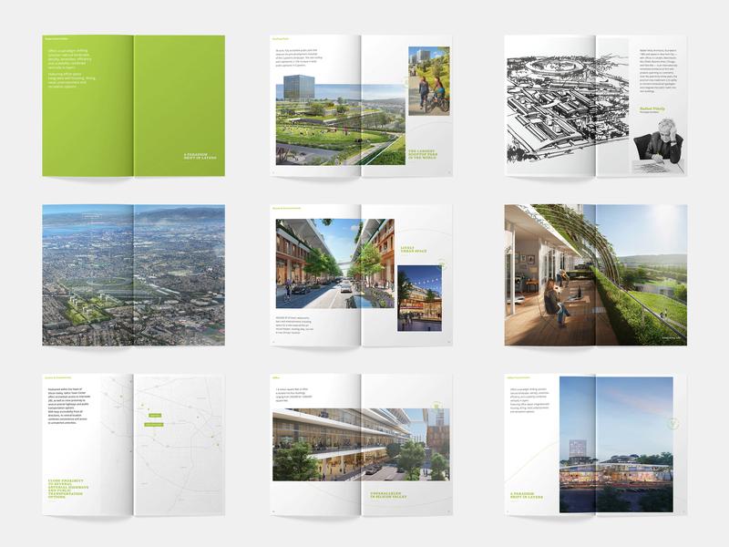 Brochure Spreads real estate property branding spread typography print layout grid design clean brochure booklet