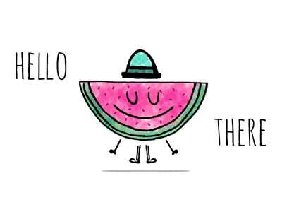 Hello there pastel watercolor sketch illustration fruit debut hello watermelon
