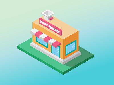 Shop Market debut flat illustration isometric market shop