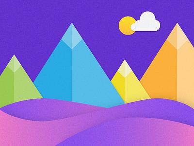 Isometric Mountains illustrator sunset illustration colorful mountains isometric