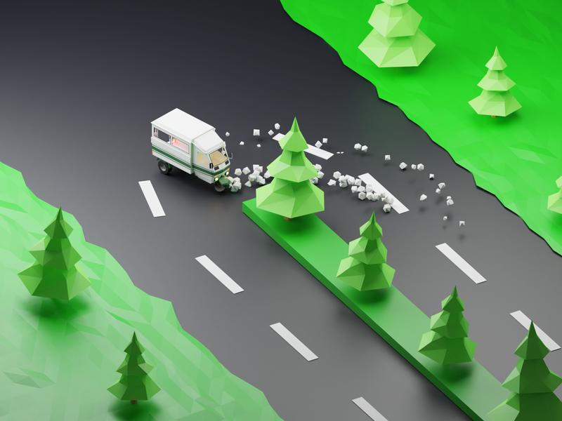 Drifting by a three wheeler gogreen 3dillustration illustration 3d blender3d lowpoly3d lowpolyart lowpoly
