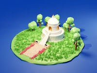Low poly version of world peace stupa lowpolyart 3d blender 3dillustration b3d lowpoly