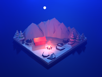 Low poly camp fire at the base of himalayas night mode himalayas lowpolyart 3dillustration b3d lowpoly blender 3d