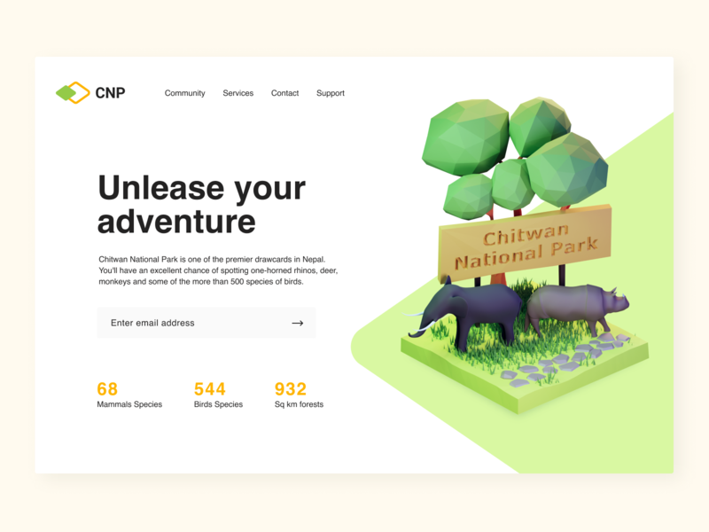Landing page concept for national park illustration national park landing page 3dillustration lowpoly