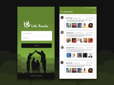 Life Events app design