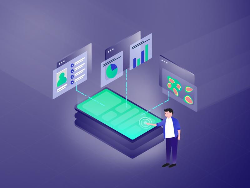 App insights illustration isometric data analysis vector landing page illustration