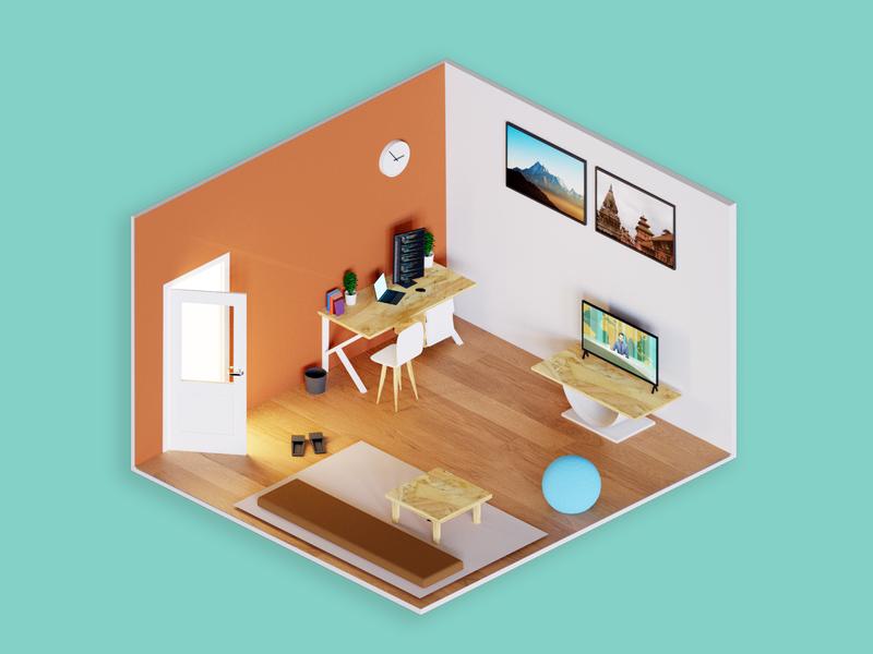 Low poly isometric room blender3d blender 3dart 3d interior lowpoly isometric design