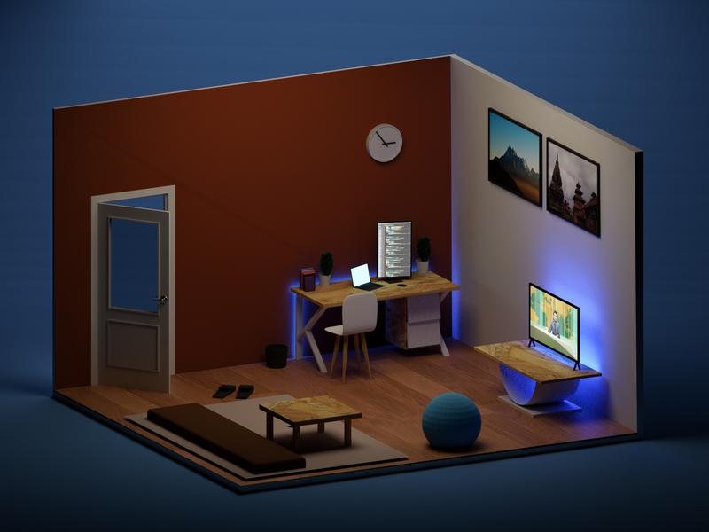 Night view rendering of a living room room interior design isometric design isometric blender3d blender 3d
