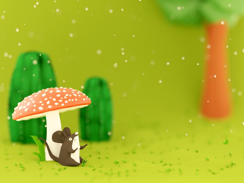 Waiting for rain to stop lowpoly nature mouse mushroom b3d illustration blender 3d