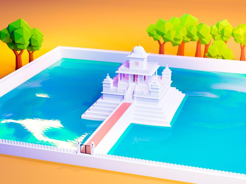 Rani pokhari of Kathmandu temple architecture 3dmodel blender 3d