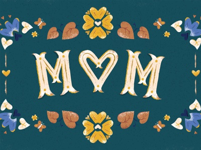 Mom vector texture mom card color type typography illustration illustrator photoshop flowers floral