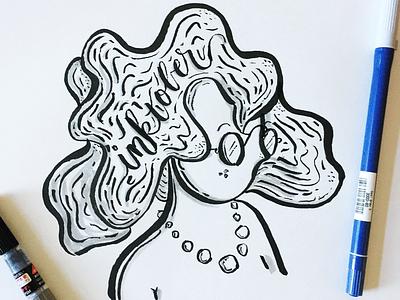Inktober-Day One drawing woman illustration brush pen ink inktober