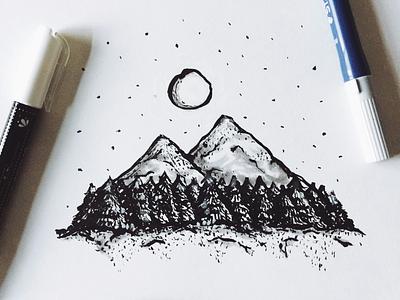 Inktober-Day Two autumn trees night moon mountains chalk ink brush brush pen illustration inktober