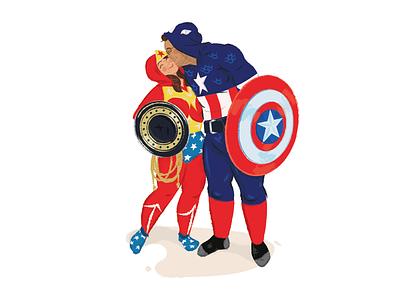 Memorial Illustration vector wonder woman captain america portrait characters comic memorial heroes illustration