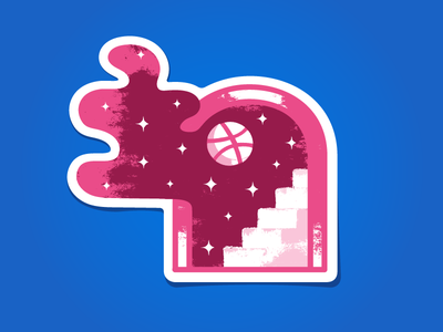 Dribbble Magic Door stairs stars space door magic illustration vector dribbble