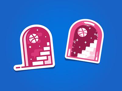 Dribbble Magic Door - Unused stairs stars stickermule space door magic portal illustration sticker vector dribbble