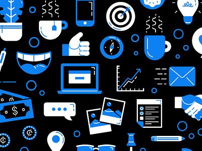 WIP Icons 2-color progress social enterprise pattern vector illustration 2 color icon culture productivity office work