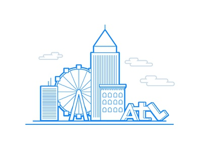 Atlanta atl ferris wheel vector skyline simple atlanta line drawing illustration flat city building