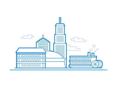 New Orleans vector skyline simple line drawing illustration dome riverboat new orleans flat city building