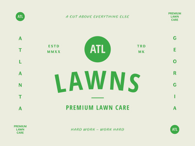 ATL Lawns type design icon retro typogaphy landscape lawncare badge vintage logodesign branding logo