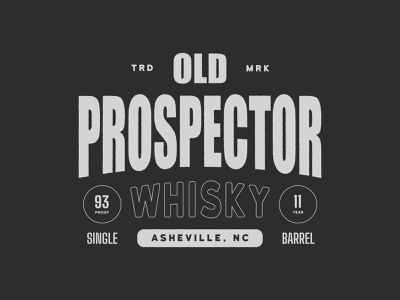 Old Prospector typography liquor retro whisky type poster vintage branding icon design logo
